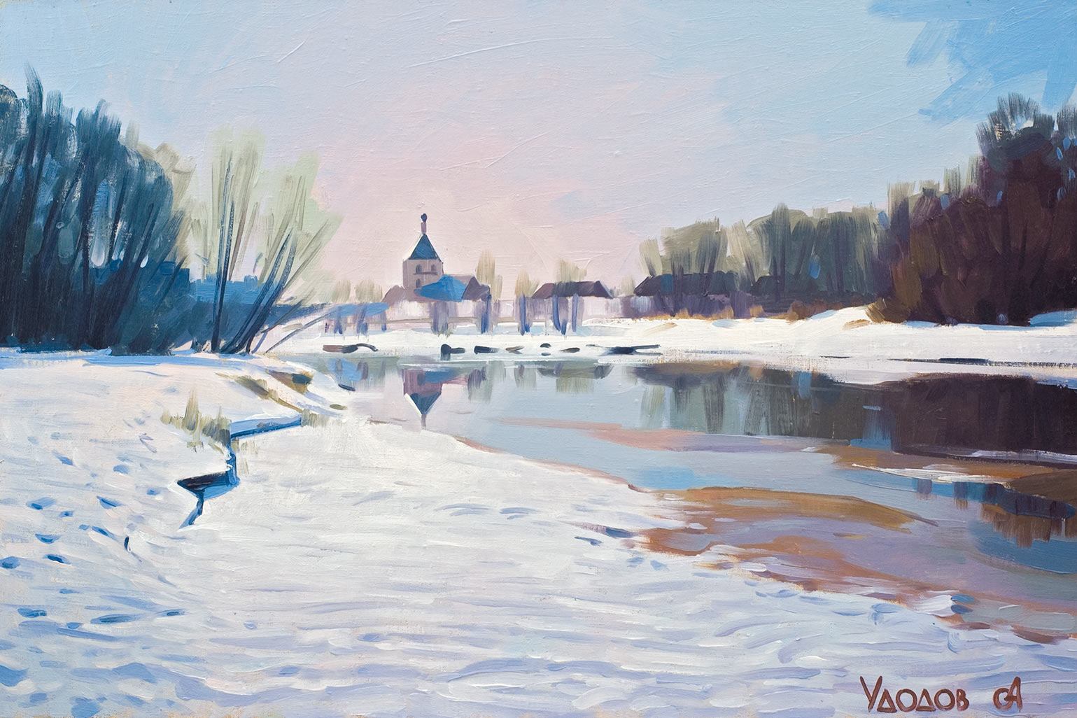 зимний пейзаж с церковью — картина ...: www.gallery-tver.ru/paintings/cityscape-25.html